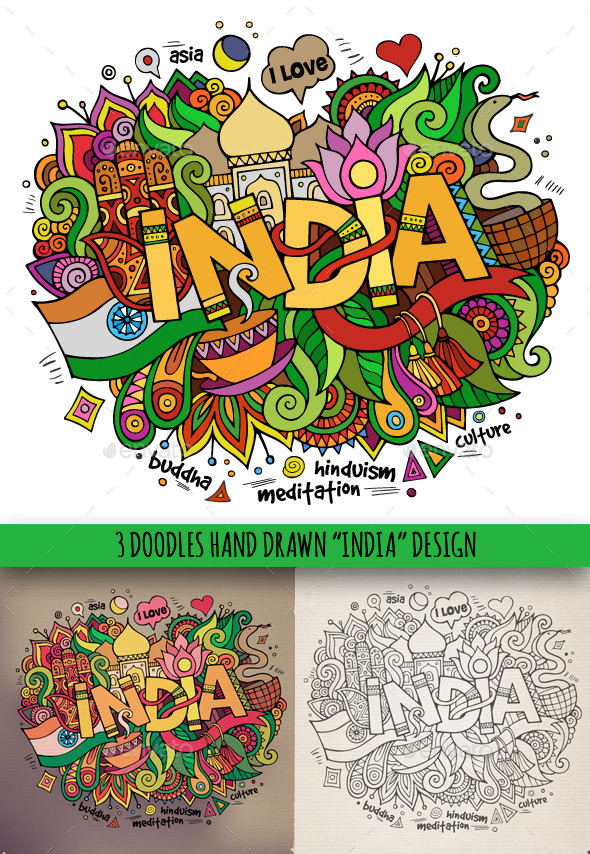 3 India Doodles - Travel Conceptual