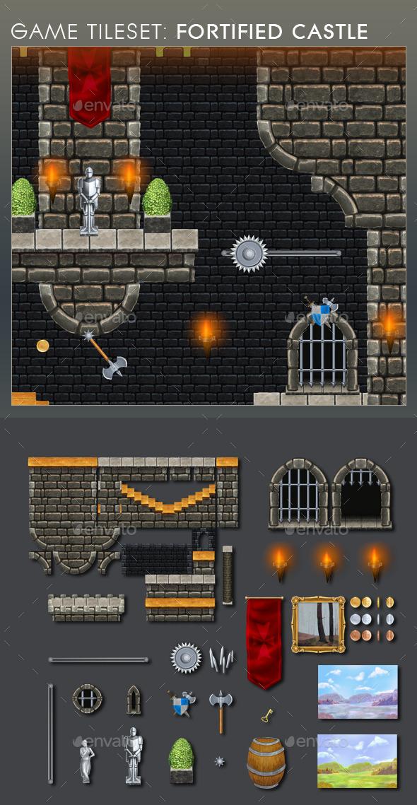 Platform Game Tileset 12: Fortified Castle - Tilesets Game Assets
