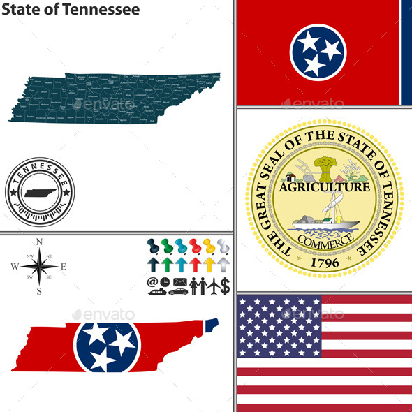Map of state Tennessee, USA - Travel Conceptual