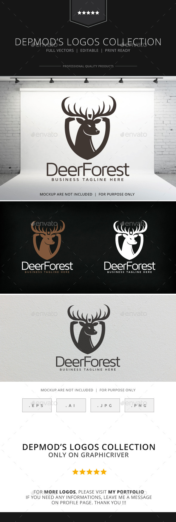 Deer Forest Logo - Animals Logo Templates