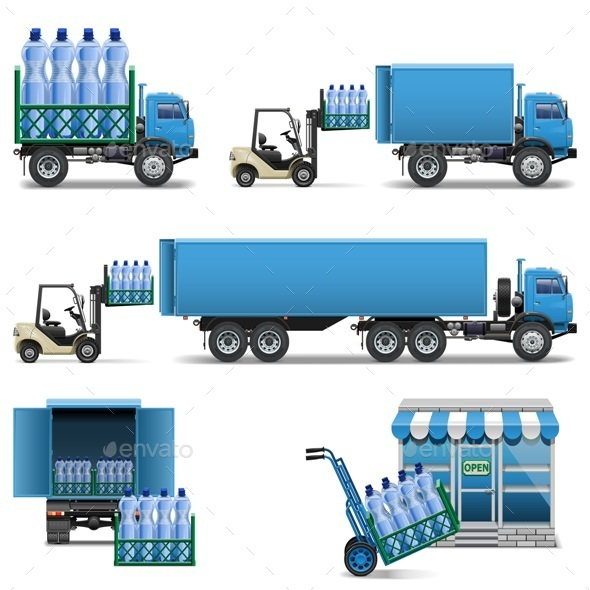 Vector Mineral Water Shipping - Industries Business
