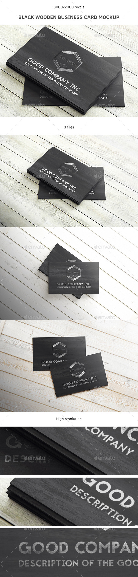 Black Wooden Business Card Mockup - Business Cards Print