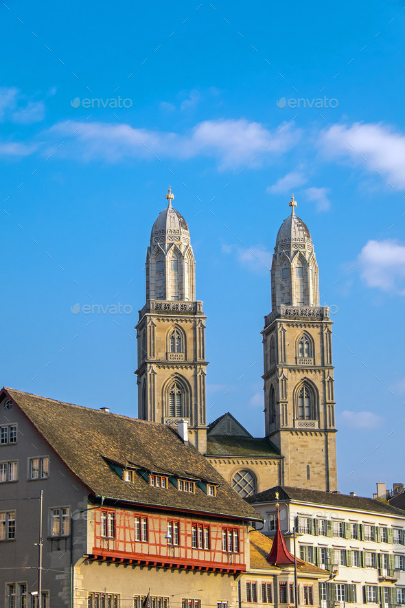 The towers of the Grossmunster - Stock Photo - Images