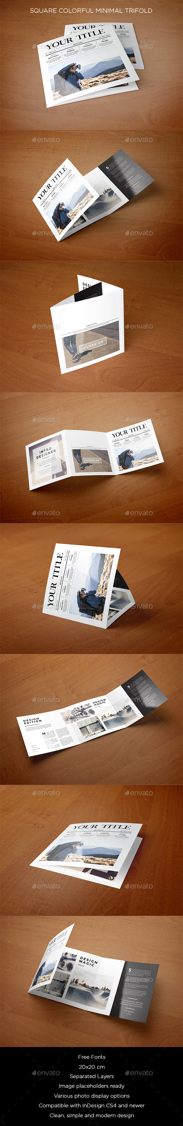 Square Minimal Style Trifold - Brochures Print Templates