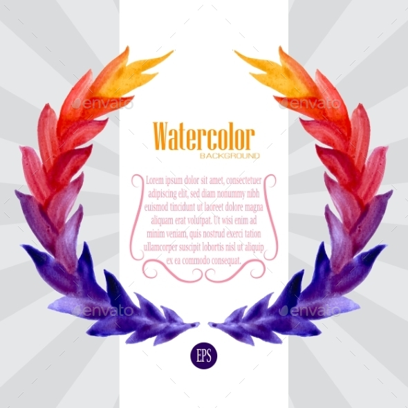 Watercolor Template with Wreath of Colorful Leaves - Backgrounds Decorative