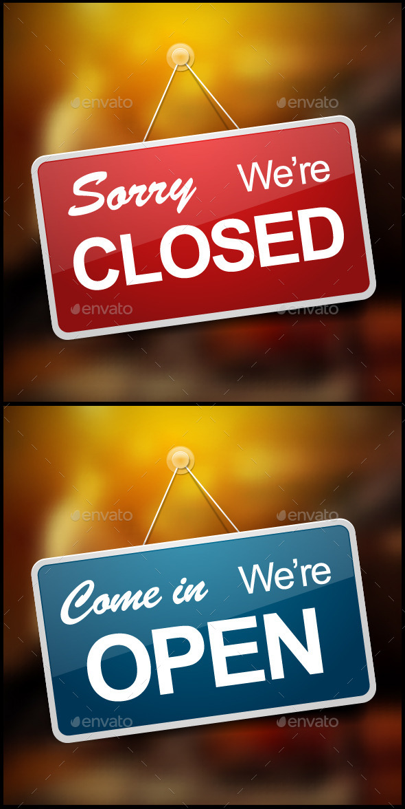 Open and Closed Signs - Objects Vectors