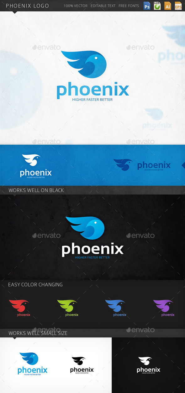 Phoenix Bird Logo Template - Animals Logo Templates