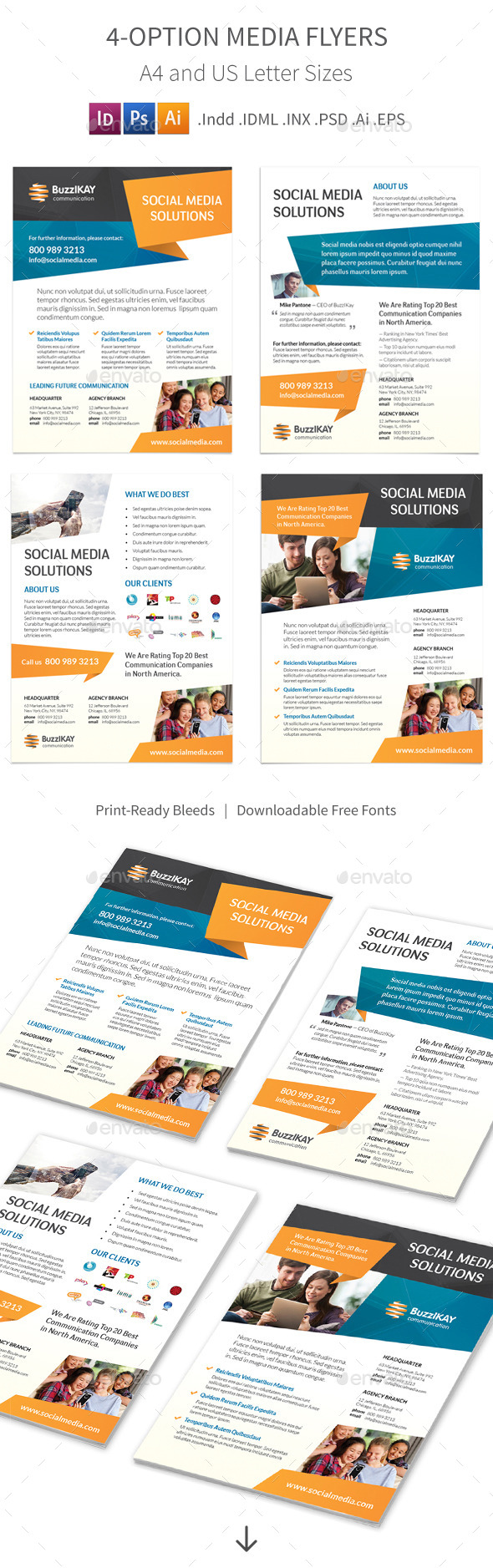 Media and Communication Flyers – 4 Options - Corporate Flyers
