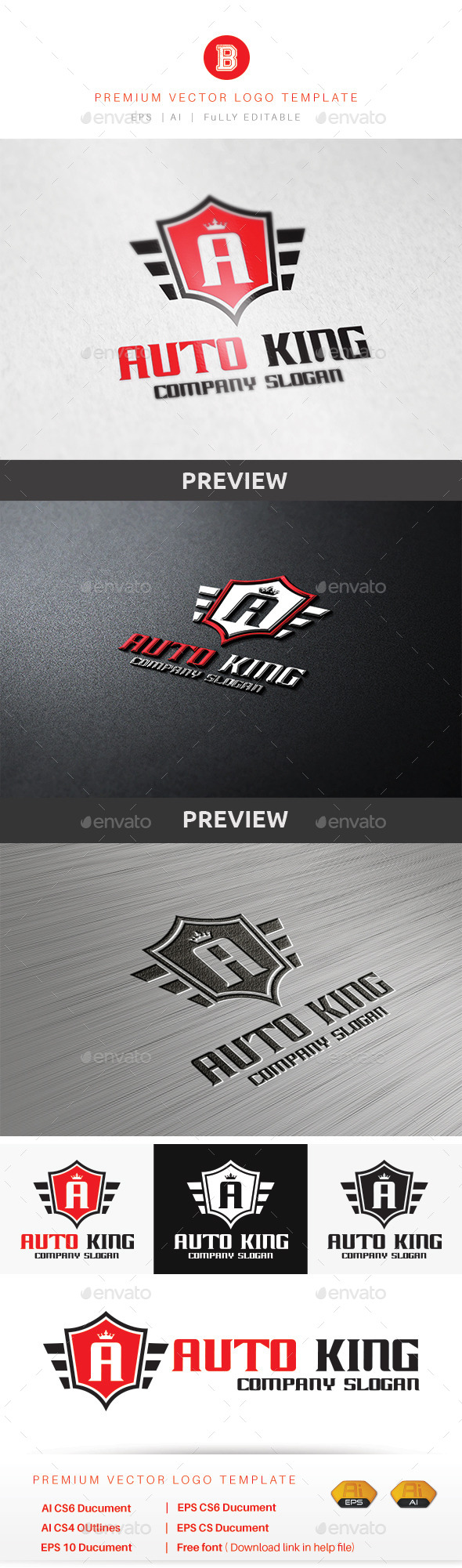 Auto King - Letters Logo Templates