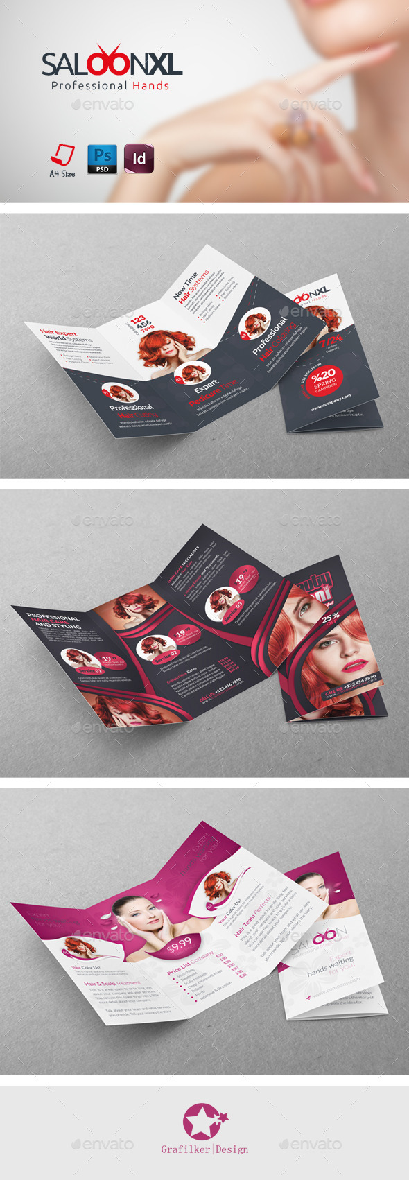 Beauty Saloon Trifold Bundle Templates - Brochures Print Templates