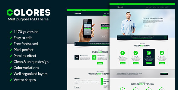 Colores - Multipurpose PSD Theme - Corporate PSD Templates