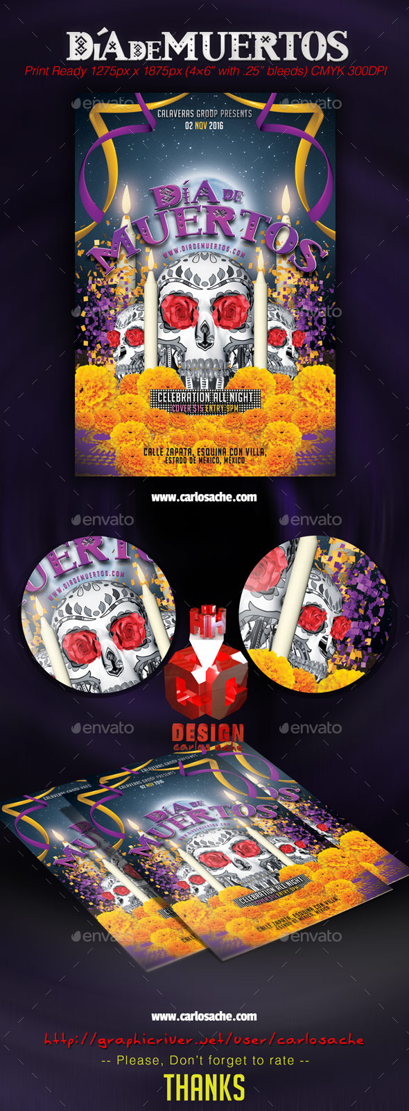 Dia de Muertos - Flyer Template - Holidays Events