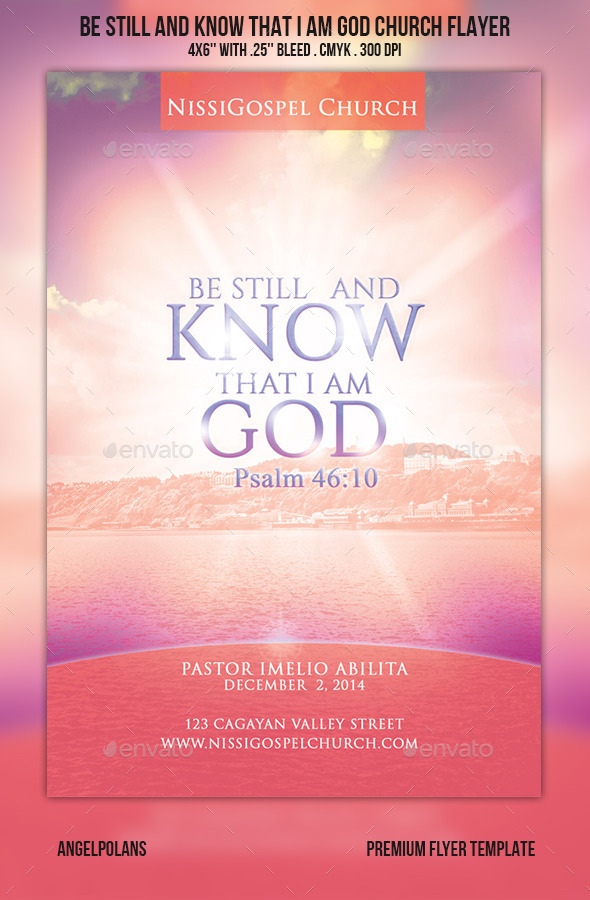 Be still and know that I am God Church Flyer - Church Flyers