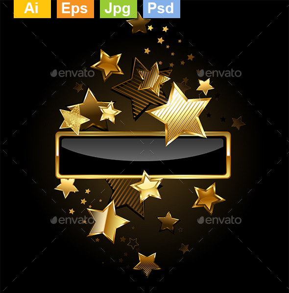 Rectangular Banner with Gold Stars - Borders Decorative