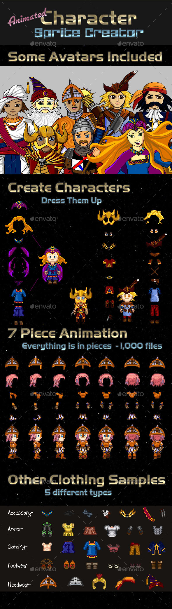 Animated Pixel Character Creator - Sprites Game Assets
