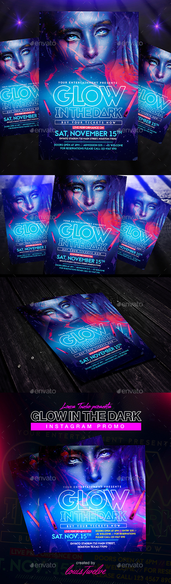 Glow in the Dark | Flyer + Instagram Promo - Clubs & Parties Events