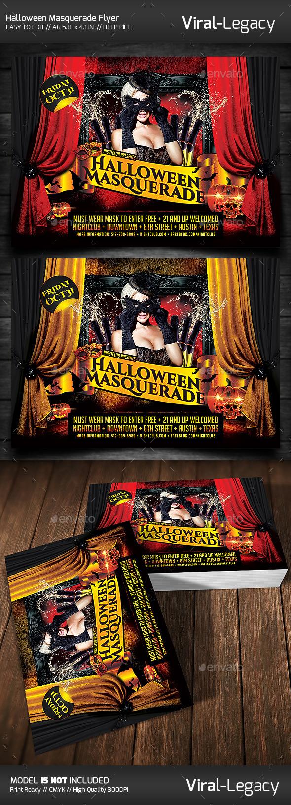 Halloween Masquerade - Flyers Print Templates