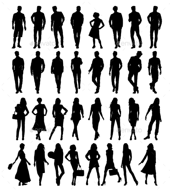 Silhouettes. Vector Illustration - People Characters
