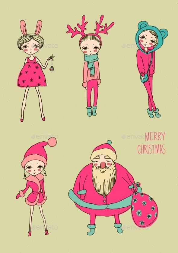Christmas Girls Set - Flourishes / Swirls Decorative