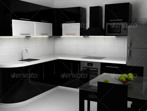 Black And White Kitchen Interior Ocean Item For