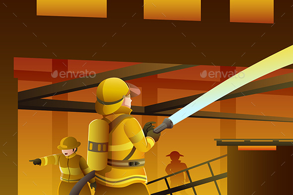 Firefighters Putting out the Building on Fire - People Characters