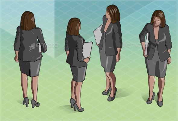 Isometric Woman Secretary Standing - People Characters