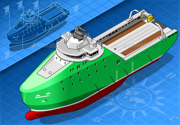 Isometric Ship Breaking the Ice in Front View - Objects Vectors