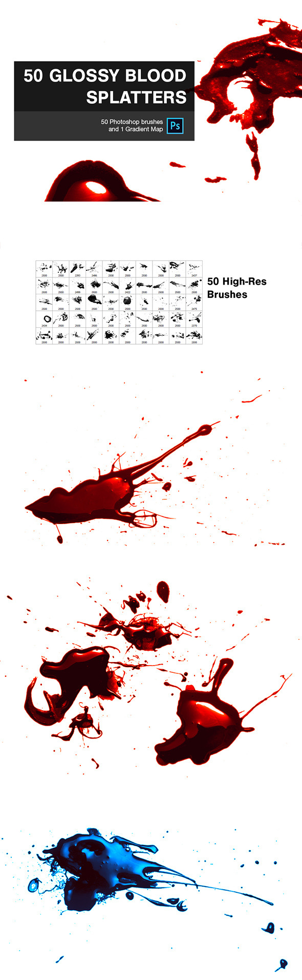 50 Glossy Blood Splatters - Grunge Brushes