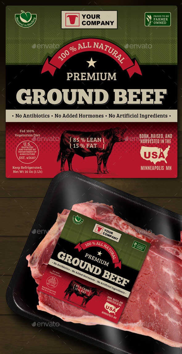 Ground Beef Label - Packaging Print Templates