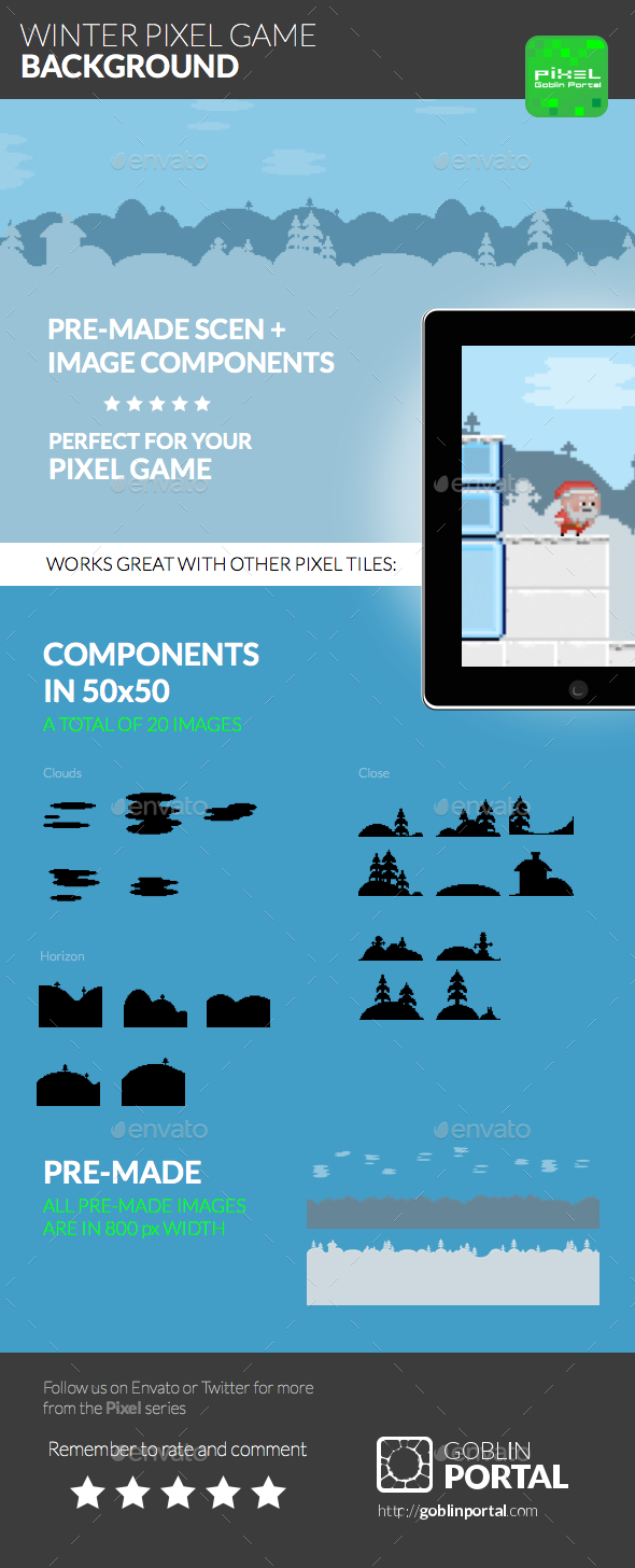 Winter Pixel Game Background - Sprites Game Assets
