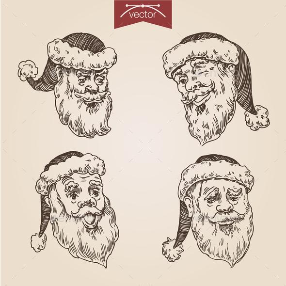 Christmas Santa New Year Handdrawn Engraving Style Template - Christmas Seasons/Holidays