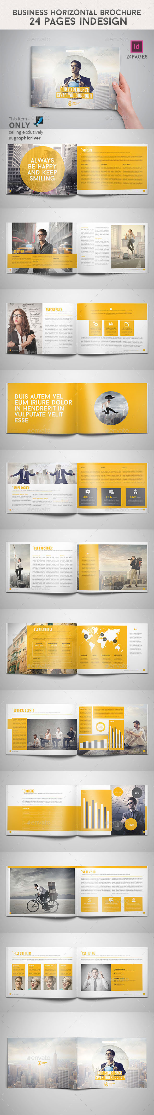 Business Horizontal Brochure 24 Pages Indesign - Informational Brochures