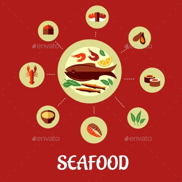 Seafood Flat Infographic Design - Food Objects