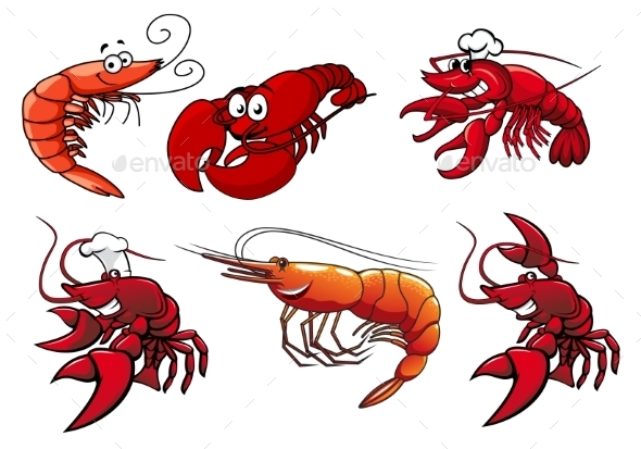 Seafood Characters of Shrimp Prawns and Lobsters - Animals Characters
