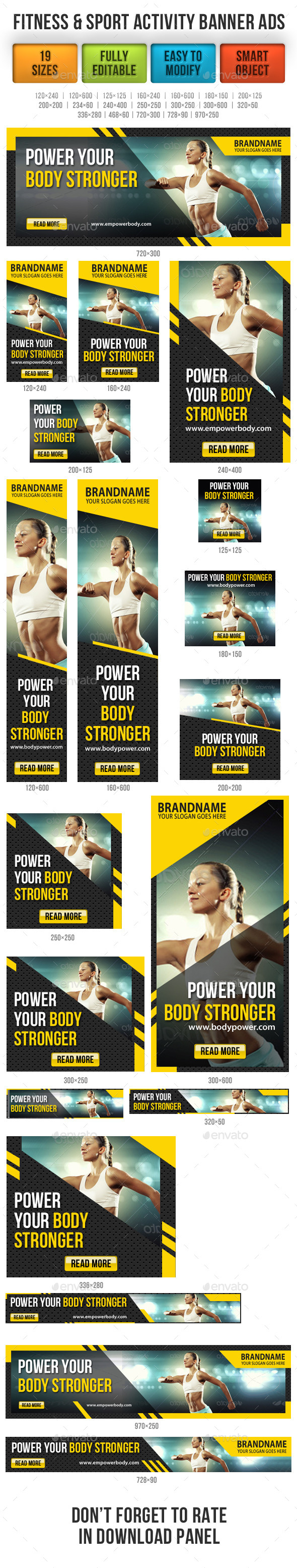 Fitness & Sport Activity Banner Ads - Banners & Ads Web Elements
