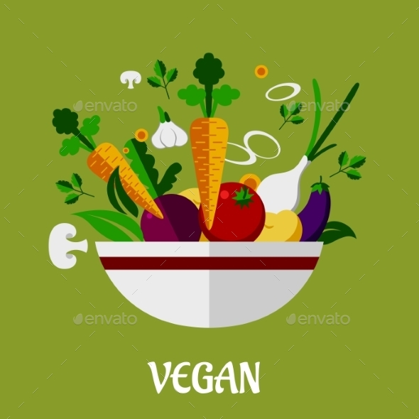 Colorful Vegan Poster with Flat Vegetable Icons - Food Objects