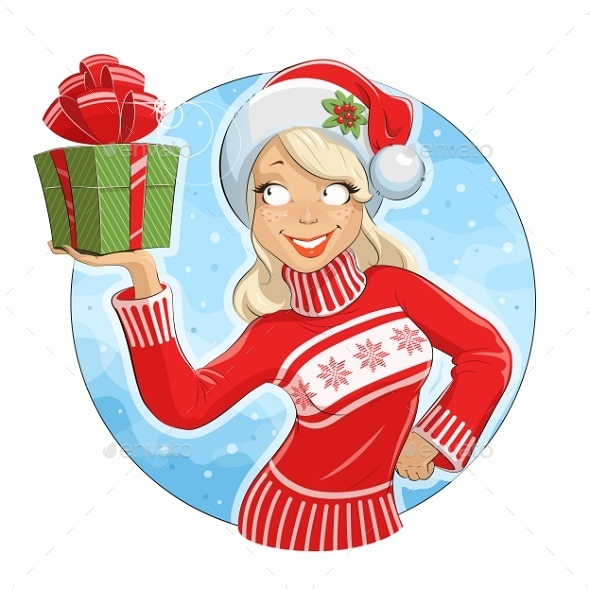 Girl in Santa Claus Costume with Gift Box - People Characters