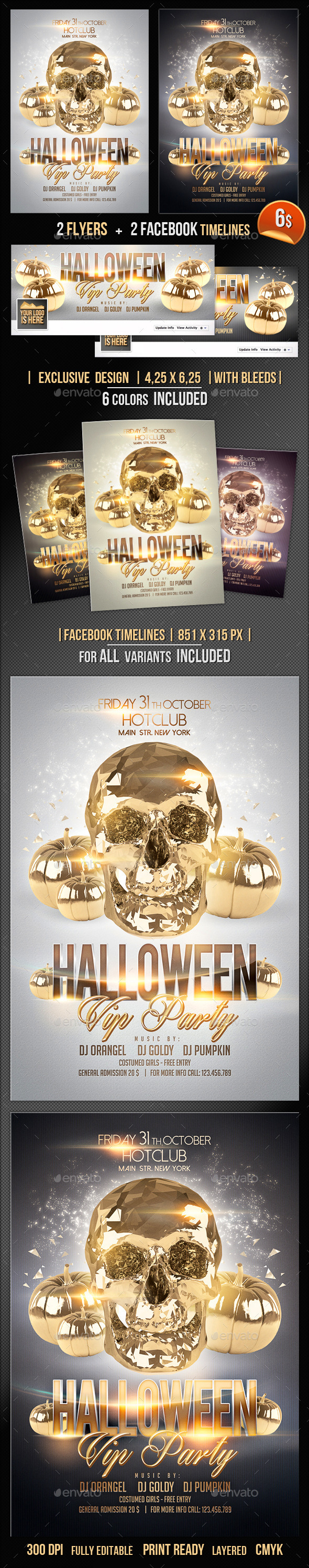 Halloween Flyer + Fb Timeline Vip Party - Events Flyers