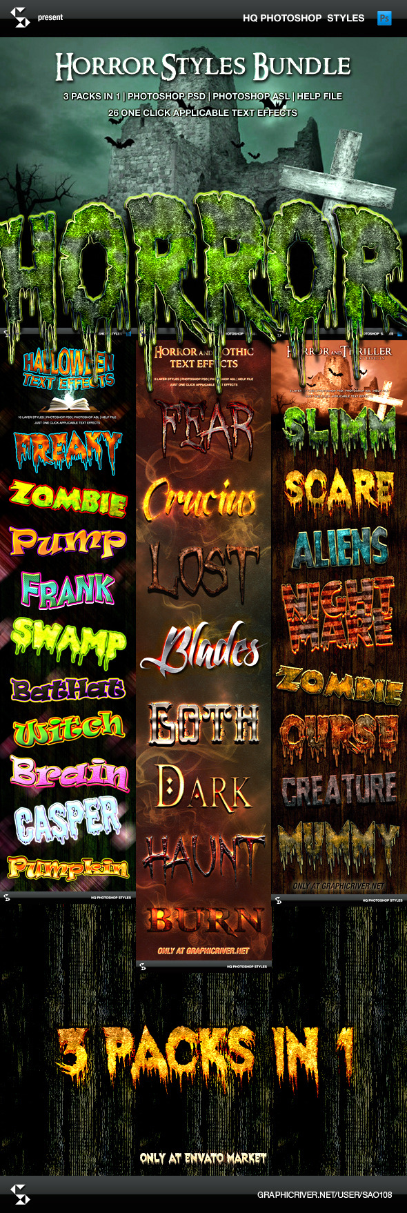 Horror and Halloween Styles Bundle - Text Effects Styles