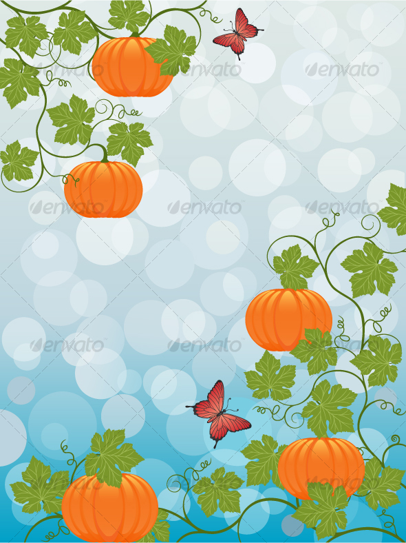 Floral background with a pumpkin - Seasons Nature
