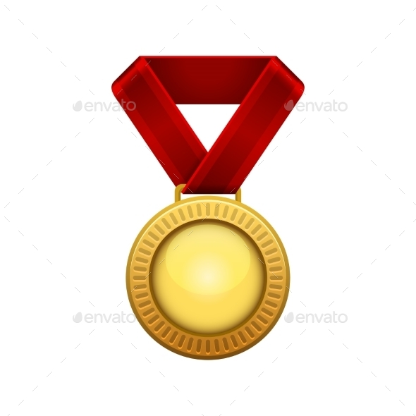 Champion Gold Medal with Red Ribbon - Sports/Activity Conceptual