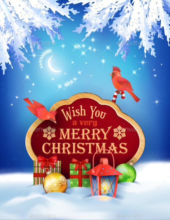 Vector Christmas Winter Night Background - Christmas Seasons/Holidays