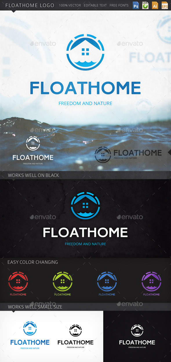 Floathome Floating House Logo Template - Buildings Logo Templates