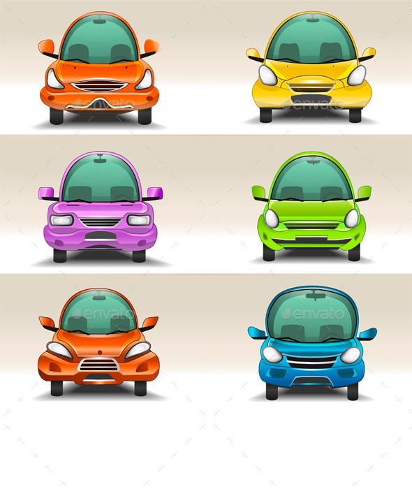 Colorful Cartoon Cars Front View - Man-made Objects Objects
