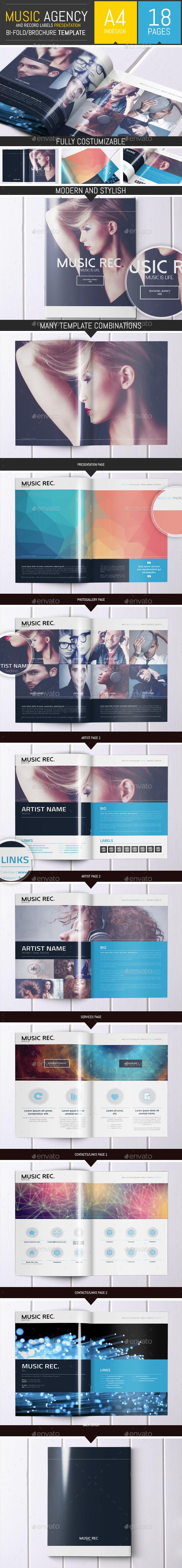 Music Agency Presentation Brochure / Bi-fold - Brochures Print Templates