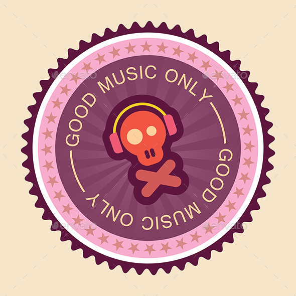 Music Round Label - Decorative Symbols Decorative