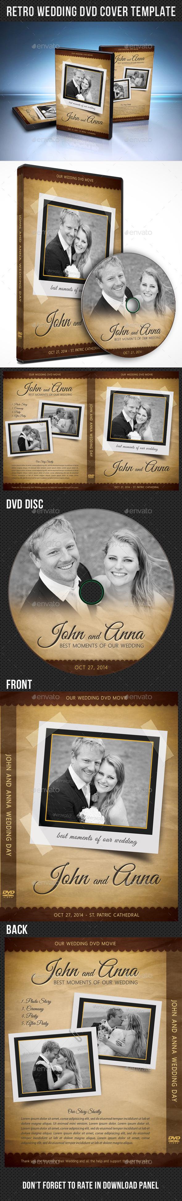 Retro Wedding DVD Cover Template 03 - CD & DVD Artwork Print Templates
