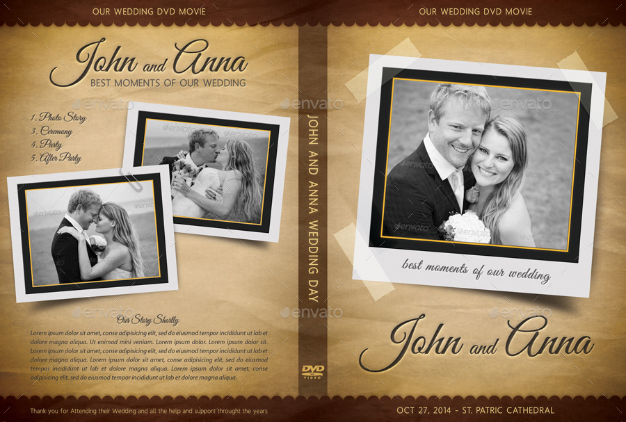 Retro Wedding DVD Cover Template 03 By Rapidgraf
