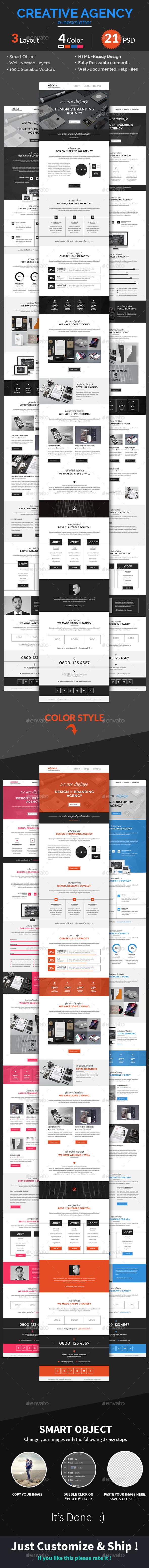 Creative Agency / Multipurpose E-newsletter PSD Te - E-newsletters Web Elements