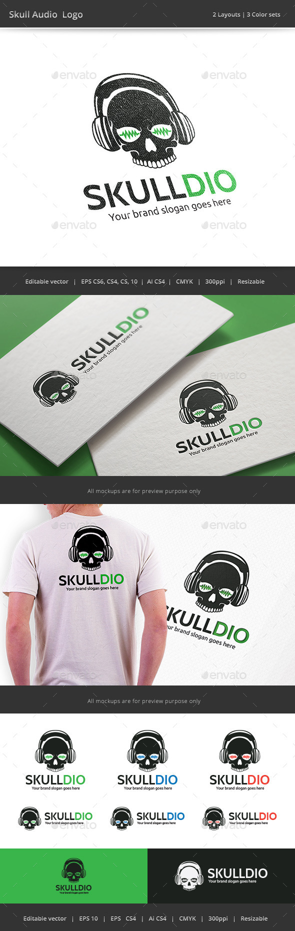 Skull Audio Logo - Objects Logo Templates